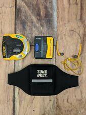 Sony Sports Walkman Cassette Discman CD Player Tune Belt Bundle Mega Bass Yellow