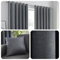 Fusion STRATA Charcoal Grey Dim Out Eyelet Curtains & Cushions