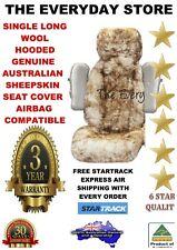 GENUINE SHEEPSKIN (LAMBSWOOL) CAR SEAT COVER SINGLE LONGWOOL HOODED 50-70MM ABAG