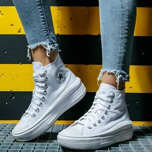 Converse Chuck Taylor All Star Move Canvas Platform White Hi Tops UK Size 6