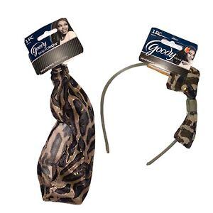 Lot of 2 Goody Headbands Leopard Band + Camo Print Headband.