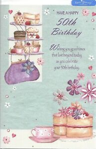 50th birthday card For a Lady Female Woman  ~ Nice verse ~ quality card FREE P+P