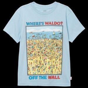 Vans X Where's Waldo Tee Shirt Beach Kids Boys Youth Large 12 14 NWT Blue Multi