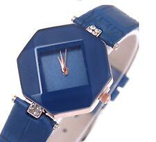 Ladies Girls Cute Wristwatch Leather Band Analogue Wrist Watch Women Blue W10