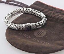 "John Hardy Sterling Silver Black Sapphire 11mm Classic Chain Medium Bracelet- 7"""