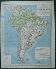 1883 LETTS MAP ~ SOUTH AMERICA BRAZIL BOLIVIA PERU ECUADOR VENEZUELA