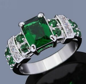 Anniversary Costly Size 6-10 Wedding Emerald 18K Gold Filled Rings For Women