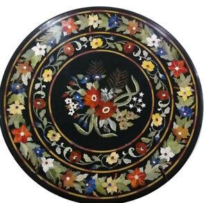 "24"" Black Marble Center Coffee Table Top Inlay Multi Floral Hallway Decor B816"