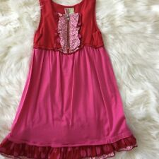 Twirls & Twigs Girls Dress Red Size 6x Sleeveless Cotton Pink Ruffle Trim NEW