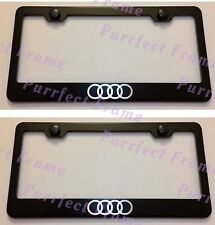 2X AUDI Logo LASER Style Black Stainless Steel License Frame Rust Free W/Cap