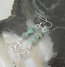 Turquoise Peace Sign Earrings, bohemian boho gypsy hippie hipster new age