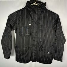 Burton BM Esquire Hooded Men's Large Jacket Black Pinstripe EUC