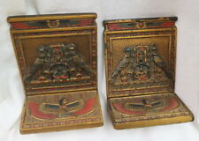 pair Judd Egyptian Revival Boookends / rare cast iron birds / paper label both