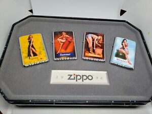 UNUSED Set 4 1996 COTY Zippo Lighters Salutes Pinup Girls 4 Seasons MIB