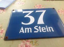 VINTAGE ENAMEL GERMAN STREET SIGN 37 Am Stein - on the rock as street bottom alp