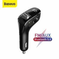 Baseus Bluetooth 5.0 FM Transmitter Aux USB Car Charger Handsfree MP3 Player