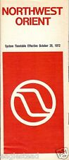 Airline Timetable - Northwest Orient - 29/10/72