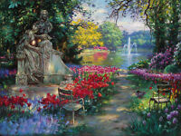 "Oil painting wonderful landscape garden splendor with red flowers canvas 24""x36"""