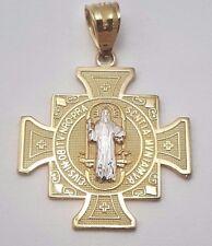14k solid two tone gold San Benedict San Benito cross charm pendant 19MM