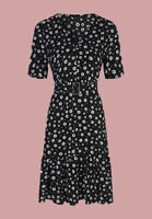 Ex Chainstore Black Floral Daisy Print Belted Summer Dress Size 8 - 22