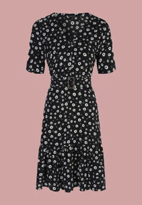 Ex Chainstore Black Floral Daisy Print Belted Summer Dress Size 10 - 18
