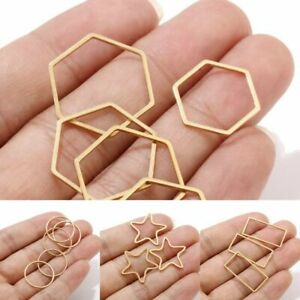 Gold Earring Findings Stainless Steel Hex Shape Connectors Ring Diy Jewelry New