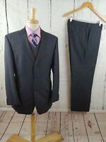 Hugo Boss Rossellini 2pc Suit 40R Navy Blue Pinstripe 3Btn Wool Mohair 34x30