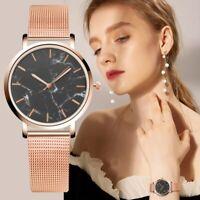 Ladies Elegant Marble Gold Silver Mesh Band Wrist Watch Analog Quartz Watches-WI