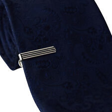 Mens & Boys 3CM Tie Bar -Silver & Black Stripe - Skinny Stainless Steel Clip Pin