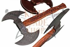DAMASCUS Steel BLADE DOUBLE HEAD FUNCTIONAL TOMAHAWK,AXE CARVED ROSE WOOD HANDL.