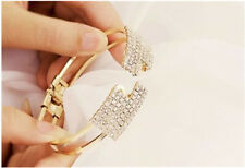 Womens Gold Fashion Elegant Crystal Wristband Bangle Cuff Bracelet Bling