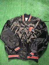 Vintage Cleveland Browns NFL Football Helmet Brown 90s Satin Bomber Jacket Sz XL