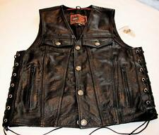 FIRST CLASSICS ~ BLACK LEATHER SIDE LACE UP CLASSIC GEAR MOTORCYCLE VEST SZ M