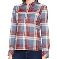 Mustang Women's Basic Check Blouse Long Sleeve Blouse Size 16 New With Tags