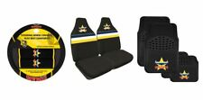 SET OF 3 NTH QLD COWBOYS NRL CAR SEAT COVERS + STEERING WHEEL COVER + FLOOR MATS
