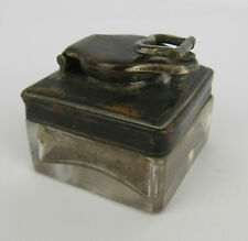 More details for 19th c sheffield plate mounted glass square travelling inkwell