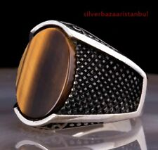 TURKISH TİGERS EYE STONE SPECIAL 925 STERLİNG SİLVER MENS  Ring US ALL SİZE 0912
