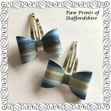 Blue Silver Bow Hair Accessories for Girls