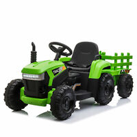 TOBBI 12V Kids Electric Battery-Powered Ride On Toy Tractor with Trailer, Green