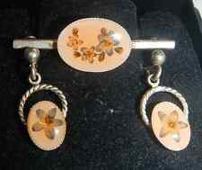 VIntage Jacqui Holmes Real English Flower & Silver Brooch & Earring Set - Boxed