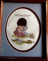 """Precious Moments Shepard """"He Cares"""" Completed Framed Matted Cross Stitch Picture"""