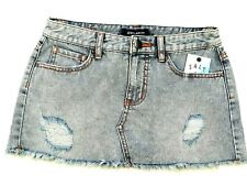 Billabong Distressed Fray Hem Cut Off Light Wash Blue Denim Mini Skirt Jeans 6