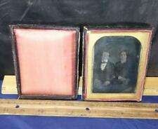 Antique Daguerreotype 1/4 Plate Photo of Man Woman Couple in Case w/ Book !
