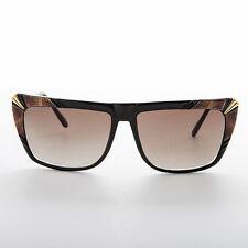 Hip Hop Flat Top Style Vintage Sunglasses Black & Brown NOS-Kayah