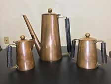 ANTIQUE COPPER COFFEE TEA POT CREAMER & SUGAR SET ARTS & CRAFTS PERIOD