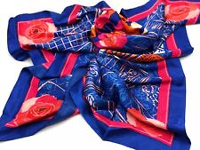 "New in Box! Lancome Paris Rose Flower Print Square Scarf 35"" x 35"""