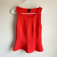 Ann Taylor Red Textured Peplum Sleeveless Career Blouse Size XS Petite