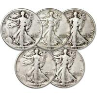 1941-1945 Liberty Walking Half Dollar 5 Coin Set AG About Good 90% Silver 50c