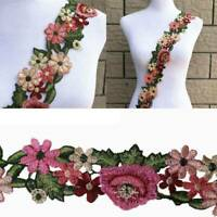 1Yard Flower Leaves Lace Trim Ribbon Wedding Applique Embroidered Sewing Craft