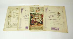 4 Antiguo Schmuckbriefe Oblea Litio Decoración Impresión 1900 Año Nuevo! (D7